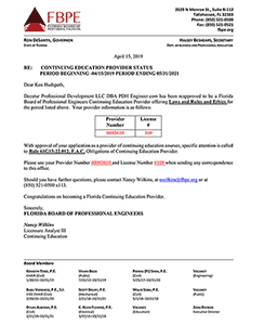 PDHengineer is approved as a provider of area of practice and laws and rules courses in Florida